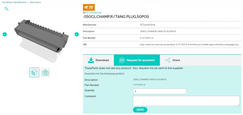 Le formulaire demande de devis, proposé par la plateforme TraceParts, facilite les interactions entre concepteurs et fournisseurs de composants industriels