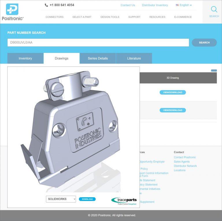 Positronic publie ses connecteurs de puissance et de signaux haut de gamme sur la plate-forme d'ingénierie de TraceParts
