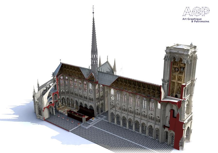Reconstruction historique 3D de la cathédrale, réalisée par Laurence Stefanon dans un but pédagogique, montant l'état avant l'incendie.