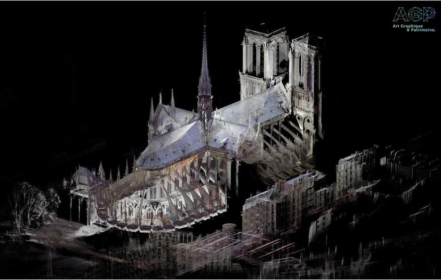 La maquette numérique complète de la cathédrale Notre-Dame reconstruite à partir des 50 milliards de points acquis lors des différentes campagnes de numérisation